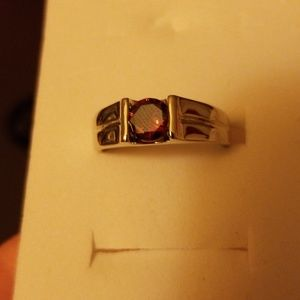 Silver women's ring with red stone size 8